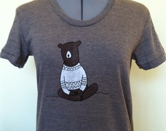 Meditating Bear T Shirt Womens Slim Fit Sizes Small through XLarge TriCoffee