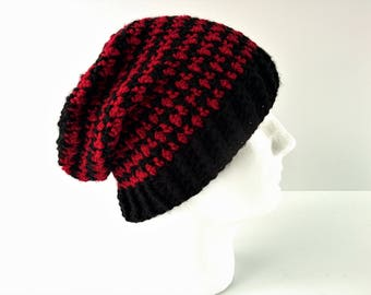 CROCHET PATTERN: Houndstooth Beanie | crochet slouchy hat pattern | mens crochet hat pattern | beanie crochet pattern | women winter hats