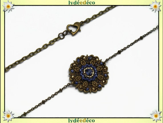 Vintage flower headband print and blue gold glass beads bronze