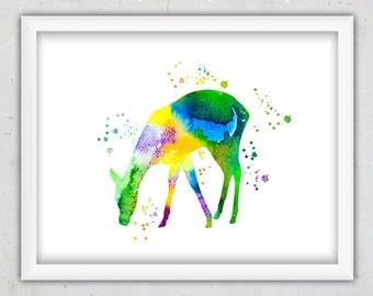 Watercolor Download Print, Digital Art, Nursery Animal Print, Digital Print, Kids Art, Watercolor Printable, Deer Nursery Poster, Roe Print