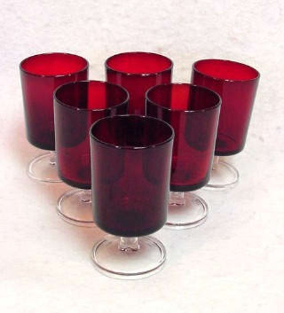 "Set Of 6 Vintage 4"" Ruby Red Glass Goblets With Clear Stems (Lot No. 2)"