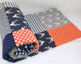 Baby Blanket, Nursery Decor, Baby Quilt, Baby Shower Gift,  Woodland Nursery, Navy Blue Gray Grey Orange Arrow Buck Deer Baby Boy