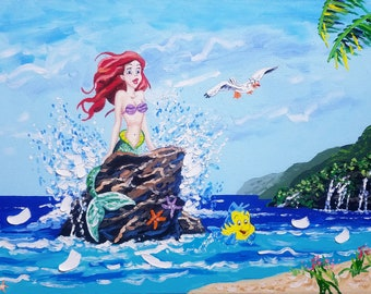 Disney art, The Little Mermaid, seascape painting, original artwork, ocean painting, canvas art, surf decor, oil painting, textured wall art