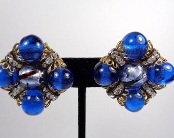 Gorgeous Vintage Large Hobe Blue Glass & Rhinestone Clip Earrings