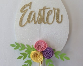 Easter cake topper with paper flowers