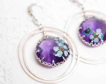 Real flower and purple Amythest dangle earrings  - white gold plated silver