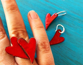 Only need is love - hand made red enanel adjustable ring