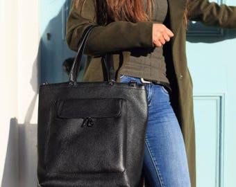 Black Leather Bag / Leather Handbag / Leather Messenger / Leather Shoulder Bag / Leather Bag / Black Handbag / Black Messenger