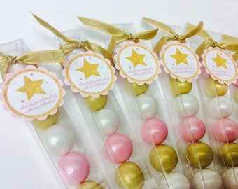 Pink and Gold Twinkle Little Star Baby Girl Shower - birthday Party Favor Gum ball Candy