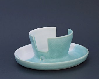 Ceramic / Sponge Holder, Turquoise / White
