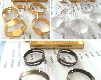 wholesale 100 Pieces /Lot Gold and Silver & Bronze plated Adjustable 8mm pad bezel ring blanks