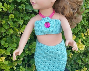 "18"" Crochet doll clothes, Crocheted Mermaid Tail, 18"" Mermaid Tail, Doll clothes, Girls Gift, Mermaid gift, Girls Birthday"