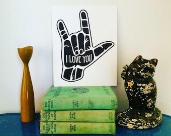 I Love You ASL Hand Print