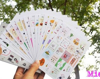 Stamp Sticker Set - Diary Sticker - Deco Sticker - Korean Sticker - 16 sheets
