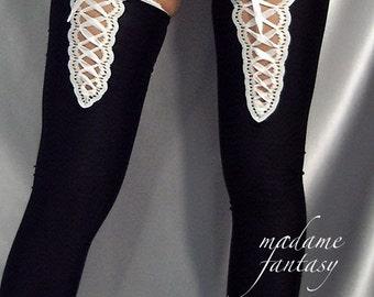 Spandex lace up stockings black & white