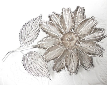 Very Large Lacework Sterling Silver Filigree Floral Brooch Made In Mexico