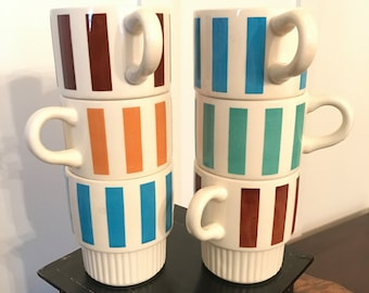 Vintage USA Pottery Color Striped Stacking Coffee Mugs Set of 6