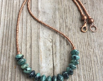 Turquoise Beaded Jewelry Necklace, Turquoise Boho Necklace, Southwestern Turquoise Beaded Necklace, Copper Beaded Necklace