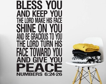 Numbers 6:24-26 Wall Art Vinyl The Lord Bless you and Keep you Benediction Religious Bible Verse Christian subway art NUM6V24-0004