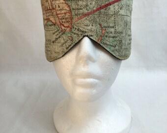 Map of the World Cotton Sleep Mask and Case Set, Eye Mask, Travel Mask
