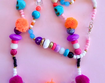 Day Of The Dead Pom Pom Skull Necklace
