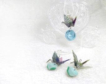 Completo collana e orecchini origami con fiore turchese - Dreamy Collection