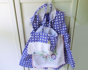 Purple Baby Bonnet and Dress Set with Panties, Baby Girl Clothes, Baby Sun Hat, Baby Dress, Vintage Embroidery,  DrBon7