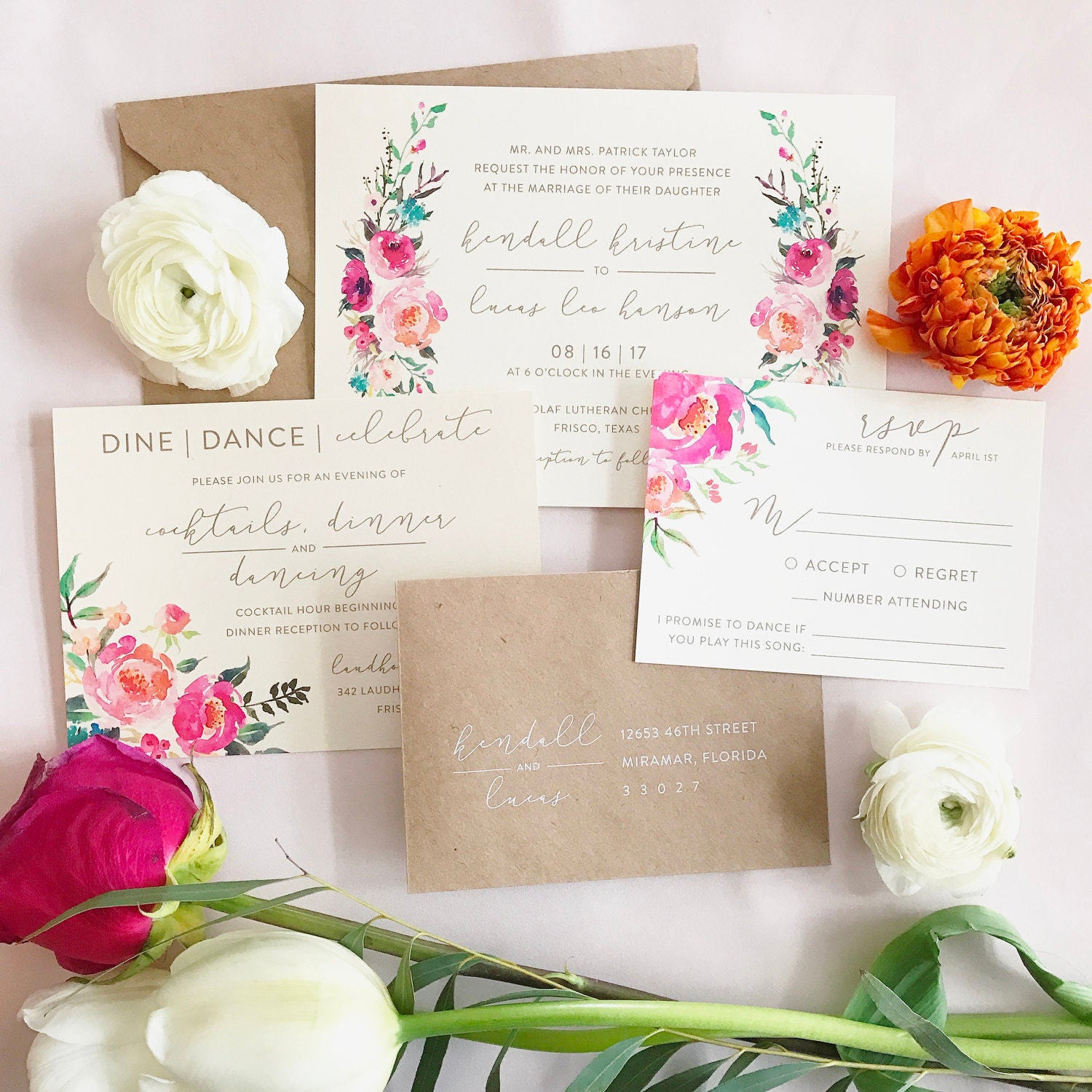 Isabella watercolor floral wedding invitation suite with kraft for Floral wedding invitations canada