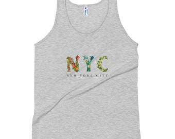 NYC - New York City tropischen Blumendruck Unisex Tank-Top