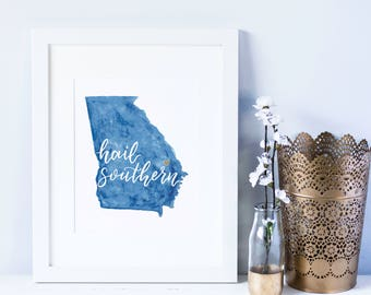 Hail Southern Hand Lettered Digital Print | Georgia Southern University | GSU | Digital Download | Graduation Gift | State Art