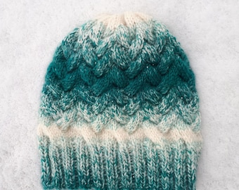 Teal/Cream Ombre Cable Knit Hat