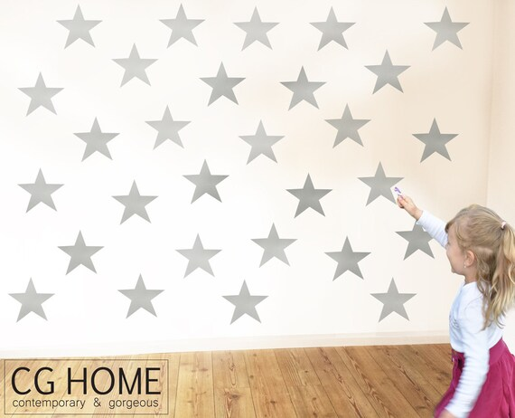 Stars Wall Decals Silver Star Scandi Pattern Baby Room Decals Removable Wall Sticker Kids Toddlers Wall Pattern