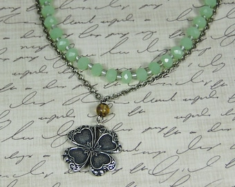 Silver Shamrock Pendant on Sterling Silver Plated Cable Chain, Pale Green Faceted Beaded Second Strand