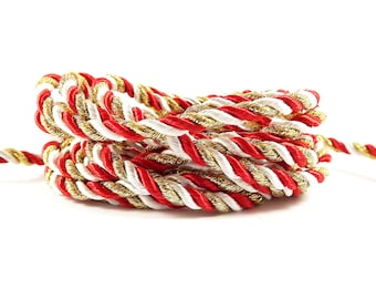 3.5mm Red White Metallic Gold Twisted Rayon Satin Rope Silk Braid Cord - 3 Ply Twist - 1 meters - 1.09 Yards - No:17