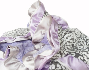 Gray and White Damask Minky Blanket with lavender minky back with satin ruffle trim