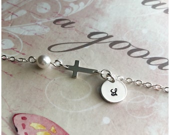 Sterling Silver Cross Bracelet - Tiny Cross Bracelet with Pearl and Initial Disc - Hand Stamped Initial on Tiny Disc - Little Girl Bracelet