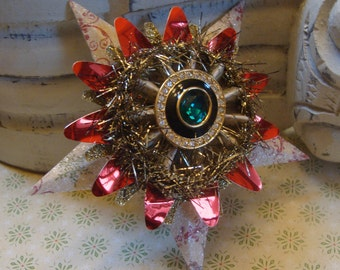 Vintage Brooch, Steampunk, Assemblage Christmas Star Ornament