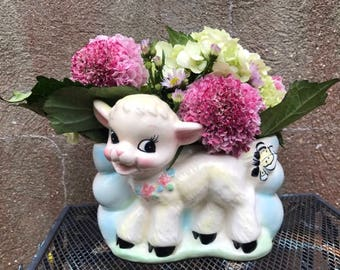Vintage Lamb With Butterfly Planter