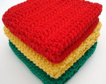 Set of Three Cotton Washcloths in Red, Yellow, Green - Crochet Dishcloths, Dish Cloths - Wash Cloths Kitchen Decor - 3 - Ready To Ship