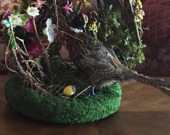 Feather Pheasant Wreath, Table Top Pheasant Wreath, Woodland Wreath, Pheasant Feather Wreath, High End Wreath, High End Wreath Decor