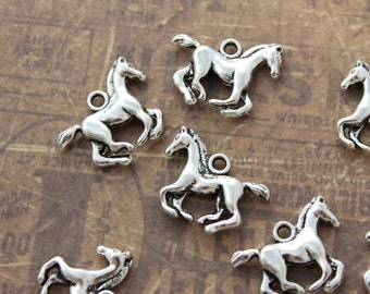 10 Running Horse Charms Horse Pendants Antiqued Silver Double Sided 3D 18 x 15mm