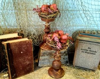 Primitive Bird Nest - Spring Decor - Candle Holder - Primitive - Rustic - Eggs - Farmhouse - Bird Nest - Easter Decor - Candle Holders -