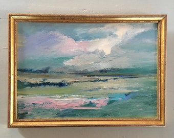 Landscape Painting-  Marsh Landscape- Painting -Original - Framed Art -8-1/2 x 12  including frame- Ready to Hang