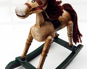 Adorable shabby chic vintage rocking horse