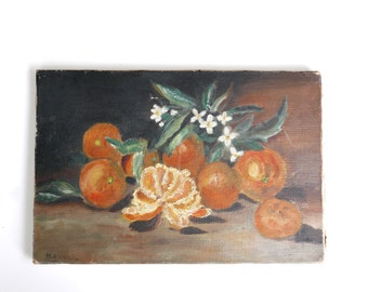 Antique french oil painting signed M.ANNICK, still life with oranges and flowers, 1930s / Shabby Chic Cottage France Art Country