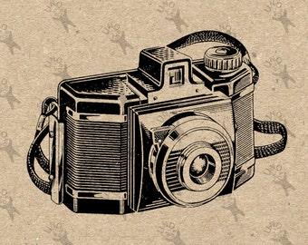 Photo Camera 35mm retro drawing image instant Download Digital printable clipart graphic Burlap Fabric Transfer Iron On  Decor  HQ 300dpi