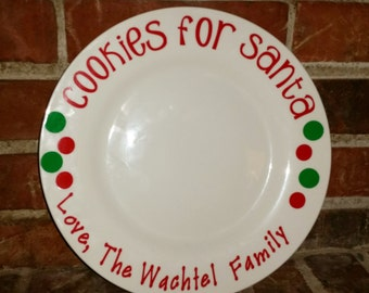 Personalized Cookies for Santa Plate  Christmas Eve