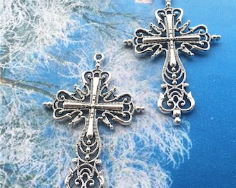8pcs 65x43mm tibetan silver Large cross charms findings