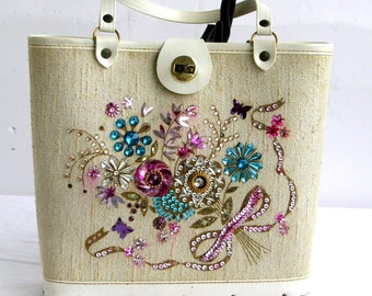 50s Purse 1950s Tote Bucket Bag Jeweled Butterfly  / Enid Collins Style Mothers Day Gift