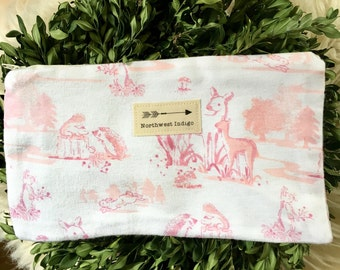 Toile Pink and White Pouch